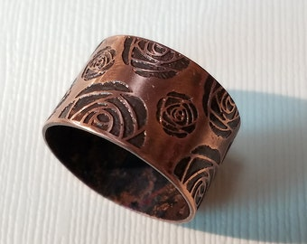Etched Copper Rose Ring