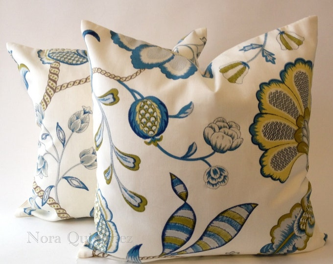 Blue and Citron Jolene Floral Print Decorative Pillow Cover - Solid Off White Canvas Backing -Medium Weight Cotton- Invisible Zipper