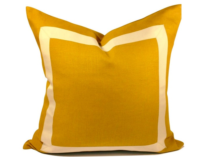 Marigold Yellow Linen Pillow Cover with Off White Grosgrain Ribbon- Invisible Zipper Closure- Cushion Cover