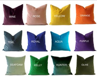 Decorative Cotton Velvet Pillow Cover  18 Color Choices- Accent Pillow Invisible Zipper Closure- Knife Or Piping Edge -16x16 to 26x26 inches