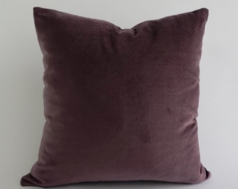 Lavender Cotton Velvet Pillow Cover- Decorative Accent Throw Pillows -Invisible Zipper Closure -Knife Or Piping Edge -16x16 to 26x26