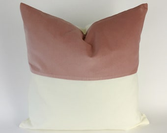 Colorblock Velvet and White Canvas Decorative Throw Pillow Cover- Invisible Zipper Closure- Throw Pillow