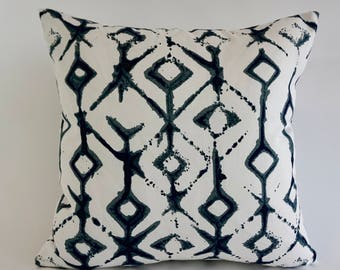 Decorative Throw Pillow Ikat Print on Medium Weight Cotton SET OF TWO Invisible Zipper Closure -Knife Or Piping Edge -16x16 to 20x20