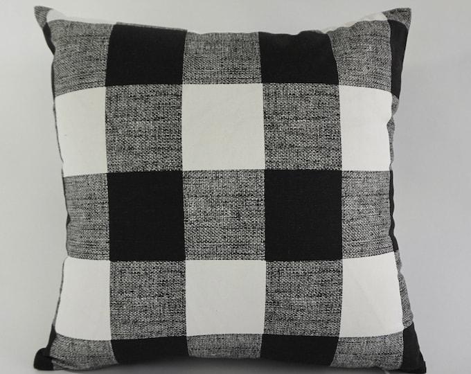 SET OF TWO Decorative Throw Pillow Black and White Buffalo Check Print Medium Weight Cotton