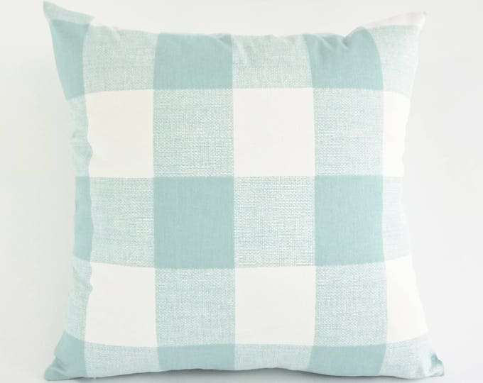 SET OF TWO Decorative Throw Pillow Aqua and White Buffalo Check Print Medium Weight Cotton