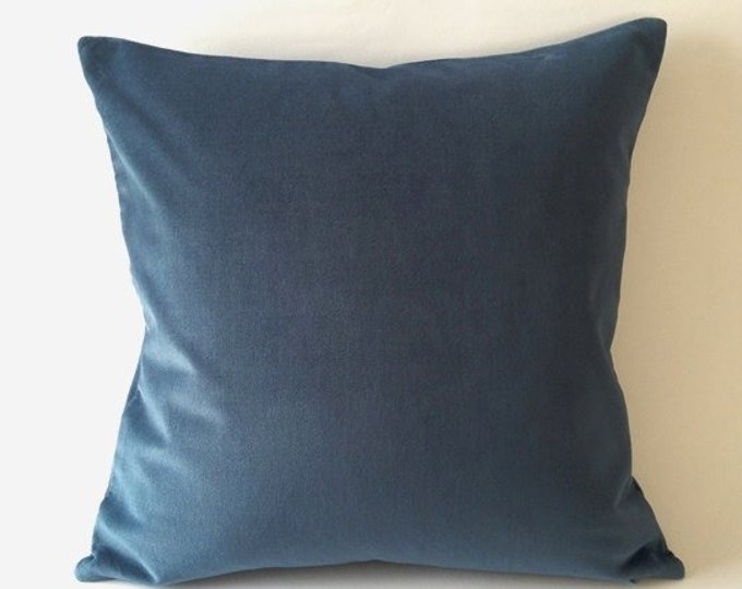 Teal Blue Cotton Velvet Pillow Cover- Square Decorative Throw Pillows- Invisible Zipper Closure- Knife Or Piping Edge-16x16 to 26x26