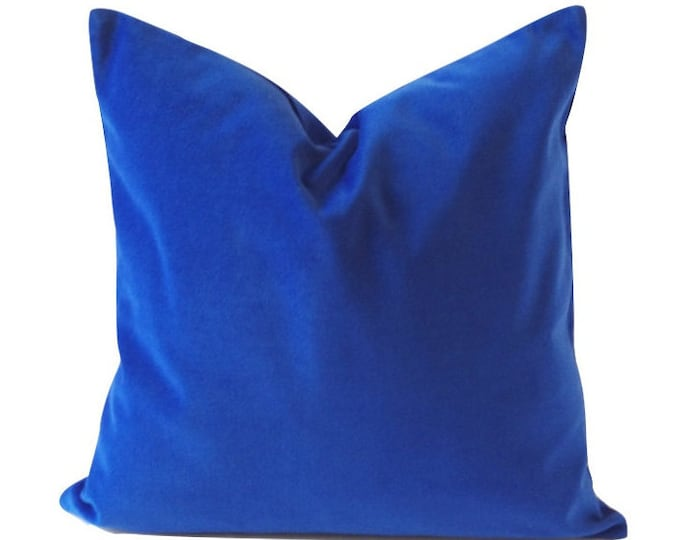 Classic Royal Blue Decorative Pillow Cover- 16x16 TO 26x26 Medium Weight Cotton Velvet- Invisible Zipper Closure- Knife Or Piping Edge