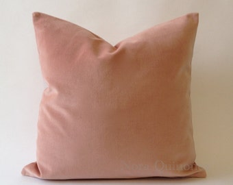 Rose Pink Cotton Velvet Pillow Cover - Decorative Throw Pillows - Invisible Zipper Closure - Knife Or Piping Edge