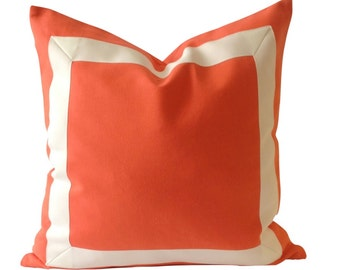 Decorative Pillow Cover Orange Papaya Cotton Canvas with Off White Grosgrain Ribbon Border -20x20 TO 26x26 - Cushion Covers