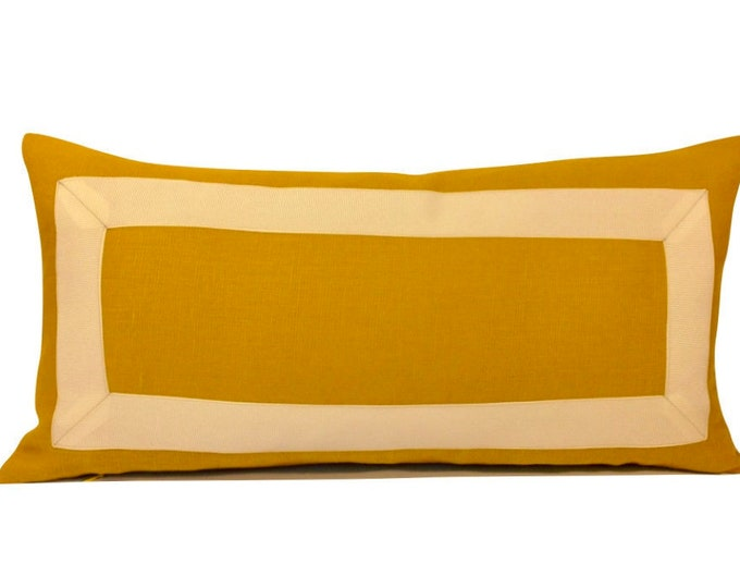Marigold Yellow Linen with Off White Grosgrain Ribbon - Decorative Pillow Cover- Invisible Zipper Closure- Cushion Cover