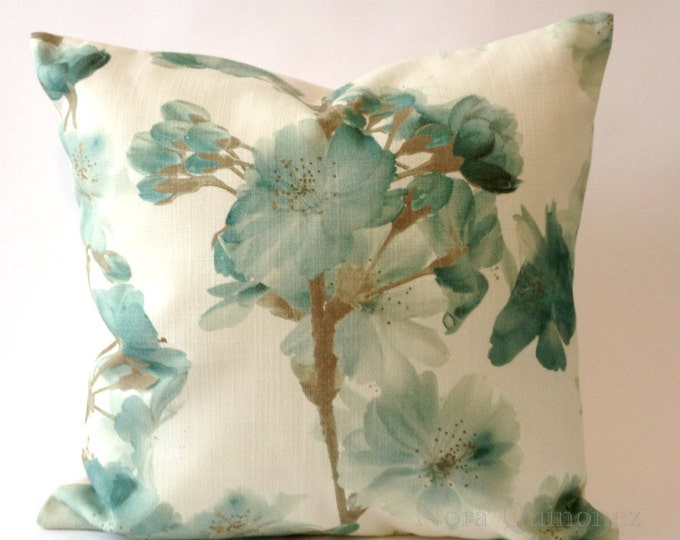 Floral Print Spring Blooms Decorative Pillow Cover - Solid Canvas Backing -Medium Weight Cotton- Invisible Zipper Closure