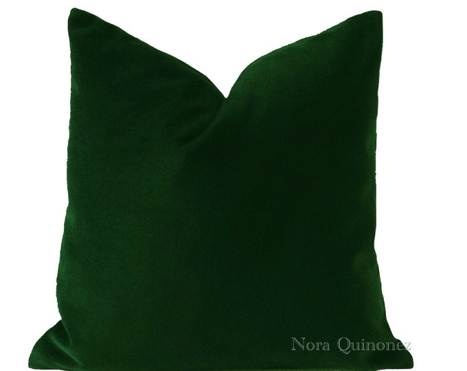 Hunter Green Decorative Pillow Cover - Medium Weight Cotton Velvet - Invisible Zipper Closure - Knife Or Piping Edge