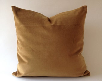 Camel Brown Cotton Velvet Pillow Cover - Decorative Accent Throw Pillows -Invisible Zipper Closure -Knife Or Piping Edge -16x16 to 26x26