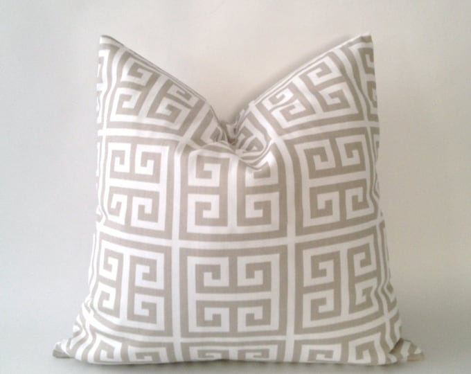 SET OF TWO Greek Key Print Decorative Pillow Covers - Tan Or Sage Blue - Medium Weight Cotton- Invisible Zipper Closure