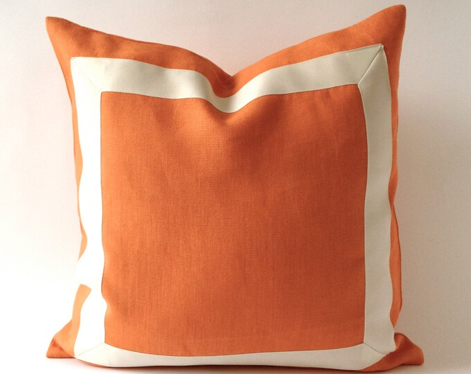 Orange Tangerine Linen Pillow Cover with Off White Grosgrain Ribbon- Decorative Throw Pillow Cover - Cushion Cover