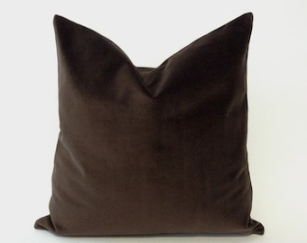 Brown Cotton Velvet Pillow Cover - Decorative Accent Throw Pillows -Invisible Zipper Closure -Knife Or Piping Edge -16x16 to 26x26