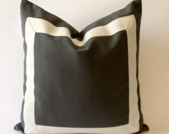 Decorative Throw Pillow Cover with Off White Grosgrain Ribbon Border - Charcoal Gray Cotton Canvas Cushion Covers