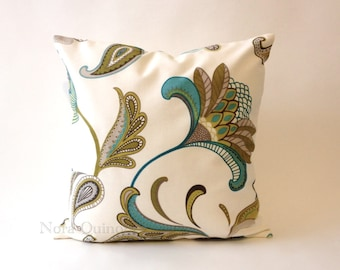 20x20 Kiki Floral Print Decorative Pillow Cover - Solid Canvas Backing -Medium Weight Cotton- Invisible Zipper Closure