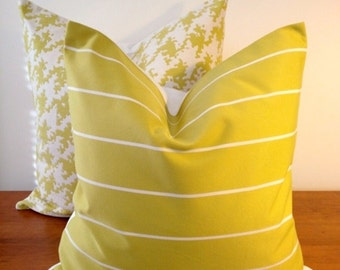 16x16 To 18x18 Decorative Pillows in Chartreuse and White- Medium Weight Printed Cotton Fabric and Solid White Backing- Cushion Cover