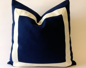 Navy Blue Cotton Canvas Pillow Cover with Off white Grosgrain Ribbon- Decorative Throw Pillow Cover - Cushion Cover 41x41 cm