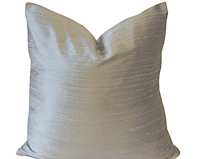 Lightgray Silk Dupioni -Decorative Pillow Cover -5 COLOR CHOICES -- Invisible Zipper Closure- Knife Or Pipping Edge