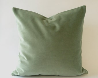 Seafoam Green Cotton Velvet Pillow Cover - Decorative Accent Throw Pillows - Invisible Zipper Closure - Knife Or Piping Edge