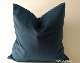 Teal Blue Cotton Velvet Pillow Cover - Decorative Accent Throw Pillows -Invisible Zipper Closure -Knife Or Piping Edge -16x16 to 26x26