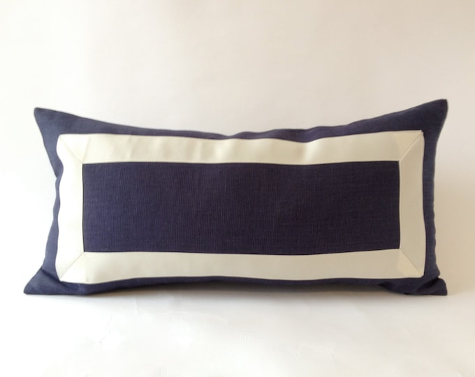 Decorative Lumbar Pillow Cover Navy Blue Cotton Canvas Lumbar Pillow Cover with Off White Grosgrain Ribbon-  Cushion Cover