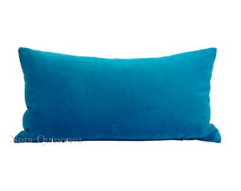 Aqua Blue Cotton Velvet Pillow Cover - Decorative Accent Bolster Pillows -Invisible Zipper Closure -Knife Or Piping Edge -16x16 to 26x26