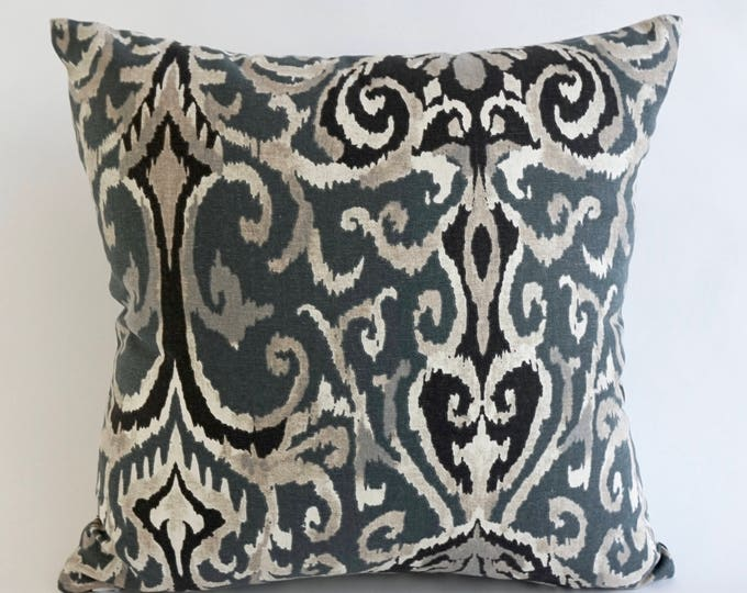 Decorative Throw Pillow Ikat Print on Medium Weight Cotton SET OF TWO