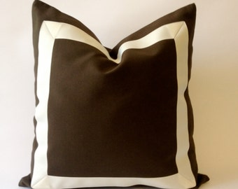 Decorative Throw Pillow Cover in Chocolate Brown Cotton Canvas with Off White Grosgrain Ribbon Border-Cushion Covers-Decorative throw pillow