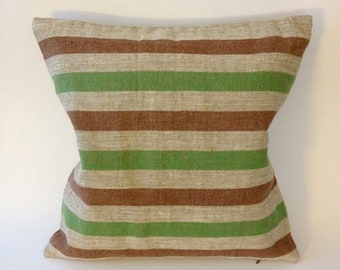 Decorative Throw Pillow - 18x18  Brown & Green Medium Weight Canvas Stripe Linen - Invisible Zipper Closure
