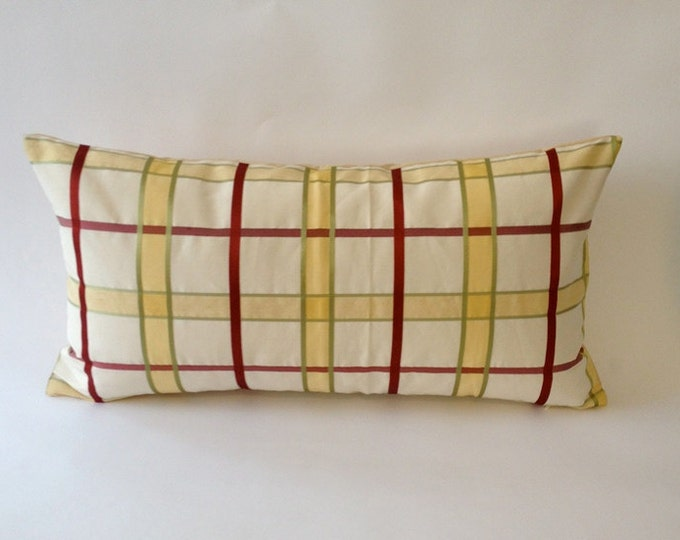 Vintage Bolster Pillow Cover - Silk Shantung Plaid- Solid Cotton Canvas Backing- Invisible Zipper Closure