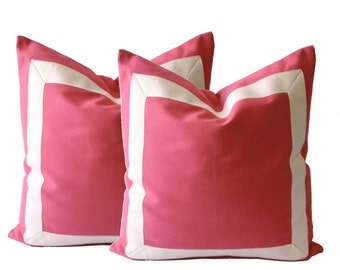 Coral Pink Decorative Throw Pillow Cover with Off White Grosgrain Ribbon Border - Cushion Covers