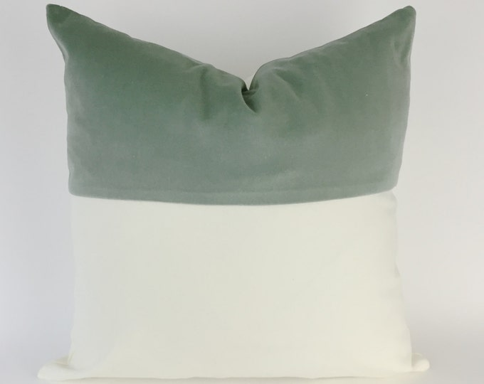 Decorative Throw Pillow Cover - Colorblock Velvet and White Canvas - Invisible Zipper Closure