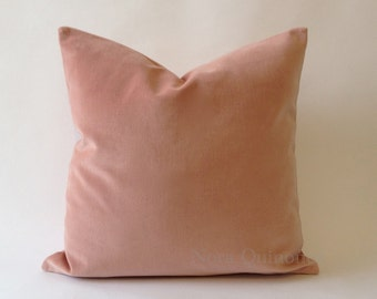 Rose Pink Cotton Velvet Pillow Cover -18 Color Choices- Knife Or Piping Edge -16x16 to 26x26 inches -Rose Pink Cotton Velvet Pillow Cover