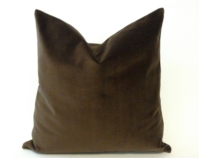 Brown Cotton Velvet Pillow Cover -Decorative Accent Throw Pillows -Invisible Zipper Closure -Knife Or Piping Edge -16x16 to 26x26