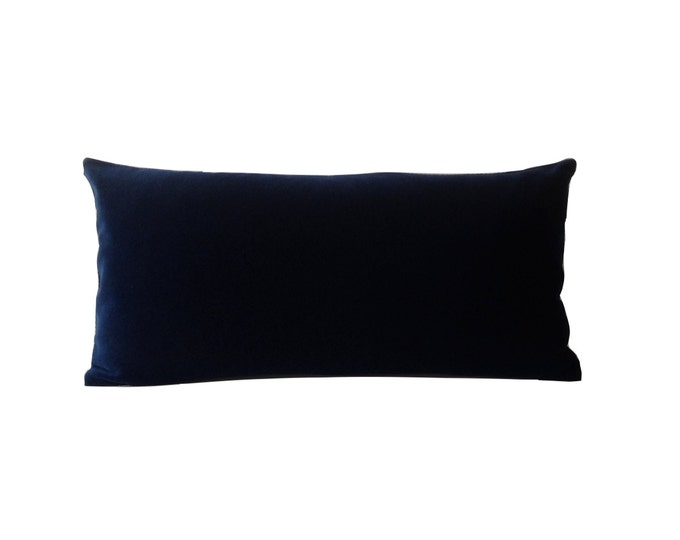 Navy Blue Cotton Velvet Pillow Cover - Decorative Accent Bolster Pillows -Invisible Zipper Closure -Knife Or Piping Edge -16x16 to 26x26