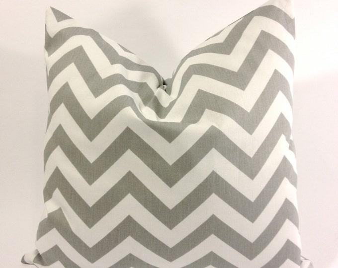 SET OF TWO Decorative Throw Pillow Cover Twill Chevron Decorative  - Lt. Gray and White - Invisible Zipper Closure- Cushion Cover
