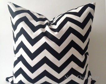 SET OF TWO 16x16 or 18x18 Black and White Chevron -Decorative Pillow Cover - Invisible Zipper Closure- Cushion Cover