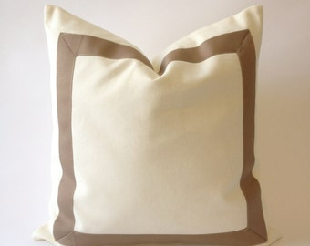 Cotton Canvas Decorative Throw Pillow Cover with Taupe Grosgrain Ribbon Border - Cushion Covers