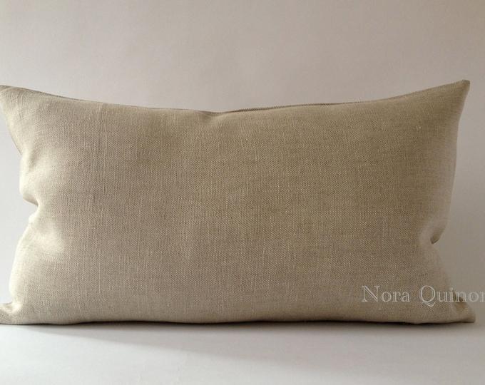 Oatmeal Linen Decorative Bolster Pillow Cover- Medium Weight European Linen- Invisible Zipper Closure