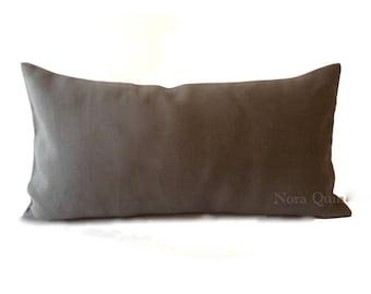 Gray Linen 10x20 To 12x24 Decorative Bolster Pillow Cover- Medium Weight European Linen- Invisible Zipper Closure