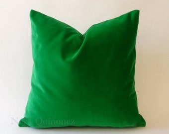 Kelly Green Cotton Velvet Pillow Cover - Decorative Accent Throw Pillows -Invisible Zipper Closure -Knife Or Piping Edge -16x16 to 26x26