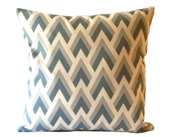 Decorative Pillow Cover SET OF TWO 16x16 or 18x18 Chevron Print - Medium Weight Cotton- Invisible Zipper Closure