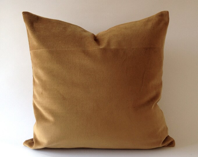 Camel Brown  Cotton Velvet Pillow Cover - Decorative Accent Throw Pillows - Invisible Zipper Closure - Knife Or Piping Edge -16x16 to 26x26