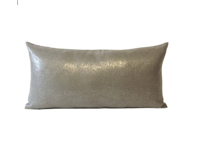 Metallic Silver Linen Decorative Lumbar Pillow Cover - Medium Weight Linen- Invisible Zipper Closure