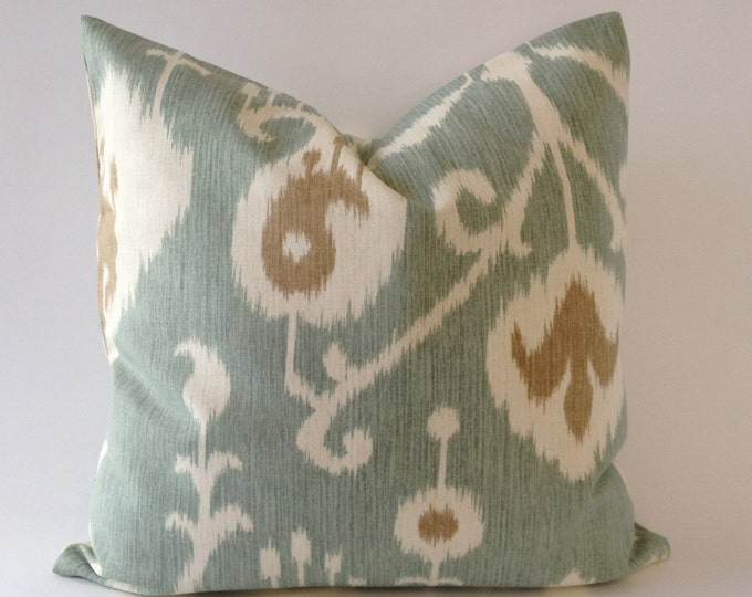 SET OF TWO 16x16 or 18x18 Ikat Print Decorative Pillow Covers - Medium Weight Cotton- Invisible Zipper Closure