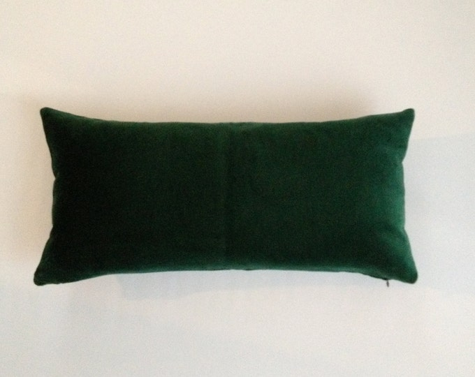 Hunter Green Decorative Bolster Pillow Cover 10x20 to 12x24  Medium Weight Cotton Velvet - Knife Or Piping Edge