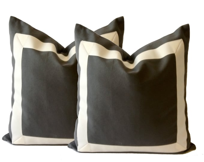 Decorative Pillow Cover Charcoal Gray Cotton Canvas Grosgrain Ribbon Border-